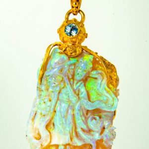 Carved Opal Sapphire Pendant