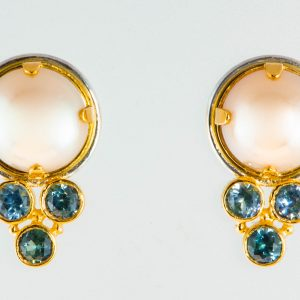 Pearl and Aquamarine Earrings in 18K Gold and Silver