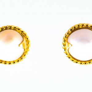 White Pearl Earrings in 18K Gold and Silver