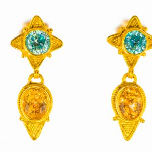 Blue Zircon and Imperial Topaz Earrings
