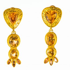 Spessartite Garnet and Imperial Topaz Earrings