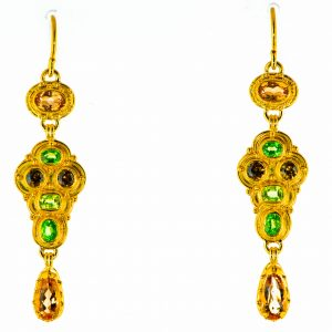 Andradite, Tsavorite and Imperial Garnet Earrings