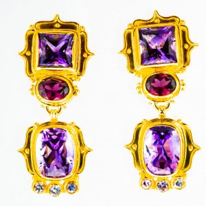 Amethyst, Garnet and Sapphire Earrings