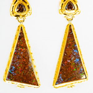 Opal and Garnet Earrings