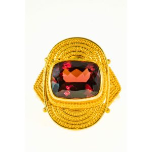 Garnet Cushion Cut Ring