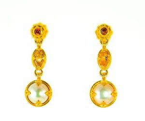 Pearl Imperial Topaz Garnet Earrings