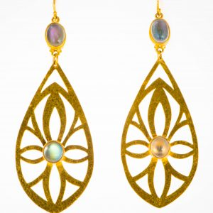 Gold and Rainbow Moonstone Earrings