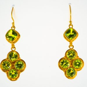 Multi Peridot Earrings with 22K granulation