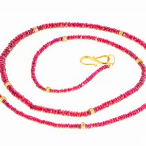 Ruby Necklace with Diamond Rondelle spacers