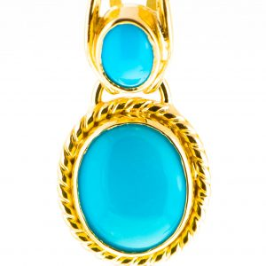 Sleeping Beauty Turquoise Pendant in 18K Gold