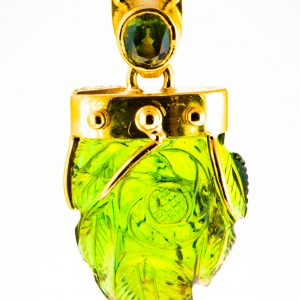 Green Tourmaline Pendant in 18K gold