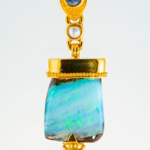 Opal, Blue Sapphire and Pearl Pendant granulated in 22K Gold