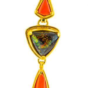 Coral and Fire Agate Pendant
