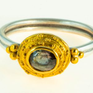 Alexandrite Ring with 22K Gold Granulation and Silver Band