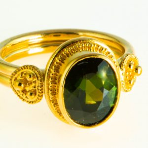 Green Tourmaline Ring with 22K granulation