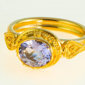 Lavender Sapphire Ring with 22K Gold Granulation