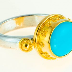 Sleeping Beauty Turquoise Ring with 22K Gold Granulation