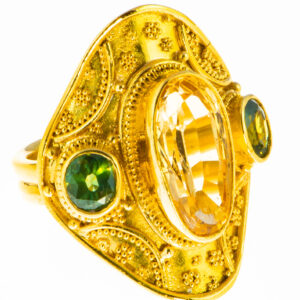 Imperial Topaz and Green Tourmaline Ring