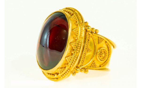 Red Garnet Cabochon Ring Side View