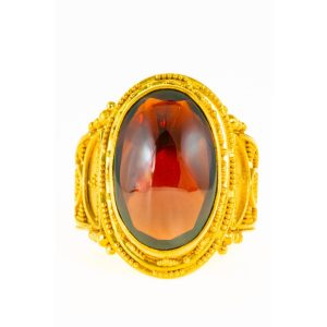 Red Cabochon Garnet Ring