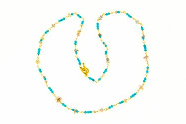 Turquoise Pearl Necklace 18K Gold Wrapped Turquoise Pearl Necklace